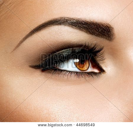 Bruin oog make-up. Ogen Make-up. Mooie ogen Vintage stijl make-up detail. Eyeliner