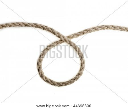 Jute rope close up isolated on white background