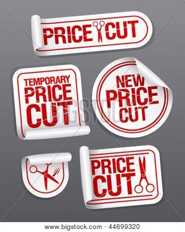 Corte de preço adesivos de venda.