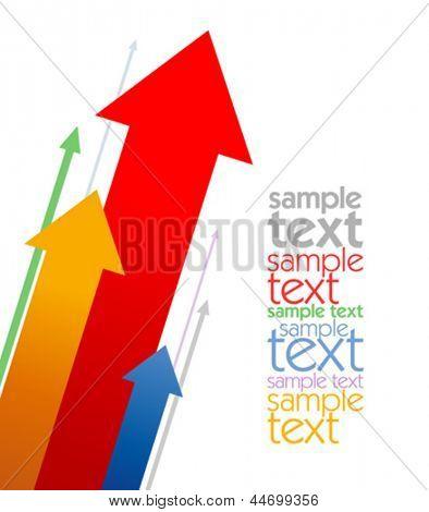 Plantilla de diseño de negocios de flechas coloreadas con lugar para texto