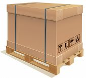 stock photo of wooden pallet  - Realistic illustration of a cardboard container on a wooden pallet - JPG