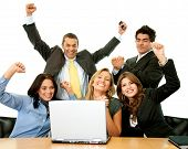 foto of business success  - Business team in an office excited from their success - JPG