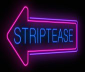 foto of striptease  - Illustration depicting an illuminated neon striptease sign - JPG