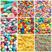 stock photo of mixture  - colorful collage of various candies and sweets - JPG