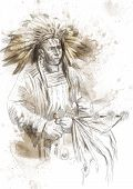 picture of peace-pipe  - Indian chief holding a peace pipe - JPG