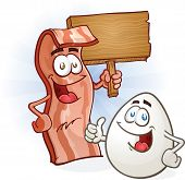 stock photo of bacon strips  - A strip of bacon and an egg cartoon characters holding a blank wooden sign and giving the thumbs up - JPG