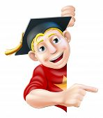 image of convocation  - Man in graduate mortar board hat or cap leaning round a sign or banner and pointing at it - JPG
