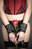 image of shackles  - beautiful sexy woman holding a red rose - JPG
