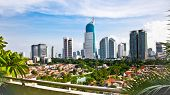 stock photo of suny  - Panoramic cityscape of Indonesia capital city Jakarta at suny day - JPG