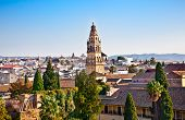 Panoramic view from Alcazar on Cordoba's roofs, Andalusia, Spain.