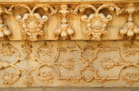 stock photo of mumtaj  - Marble Carving of Taj Mahal at Agra India made of white marble by emperor Shah Jahan in memory of wife Mumtaj and is a UNESCO World Heritage Site  - JPG