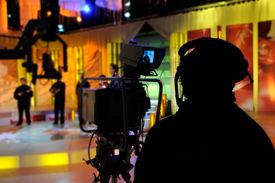stock photo of recording studio  - Cameraman works in the TV studio  - JPG