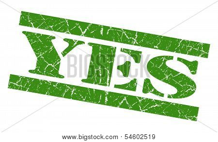 Yes Green Grunge Stamp