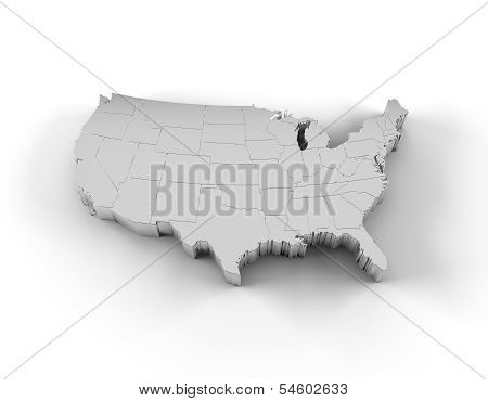 USA map 3D silver with states and clipping path