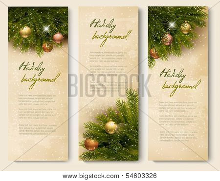 Three retro holiday banners with christmas tree branches. Vector
