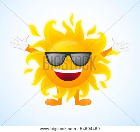 Happy sunny character in sunglasses