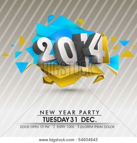 Stylish Happy New Year 2014 celebration flyer, banner, poster or invitation with stylish text on colorful background.