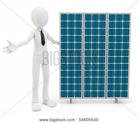 3D Businessman With Solar Panel