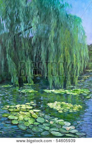 Weeping Willow Tree And Water Lilies