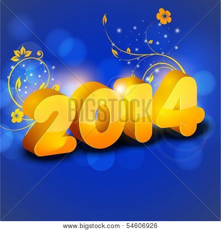 Happy New Year 2014 celebration flyer, banner, poster or invitation with floral decorated shiny yellow text on blue background.