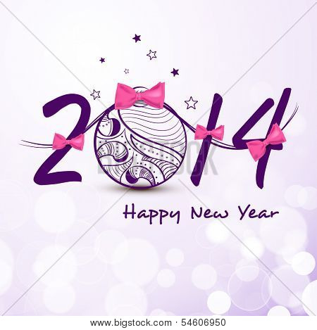 Happy New Year 2014 celebration flyer, banner, poster or invitation with stylish text and floral decorated Xmas ball on purple background.