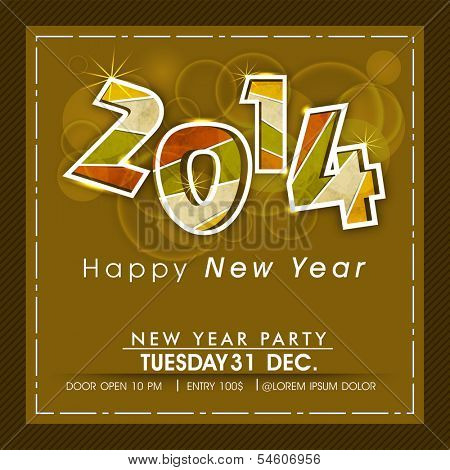 Happy New Year 2014 celebration flyer, banner, poster or invitation with colorful text on floral decorated brown background.