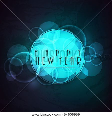 Stylish Happy New Year 2014 celebration flyer, banner, poster or invitation with stylish text on shiny blue background.