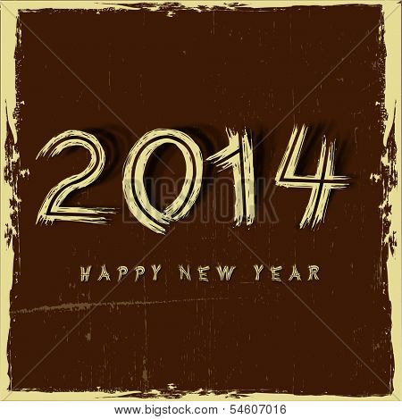Stylish Happy New Year 2014 celebration flyer, banner, poster or invitation with golden text on vintage brown background.