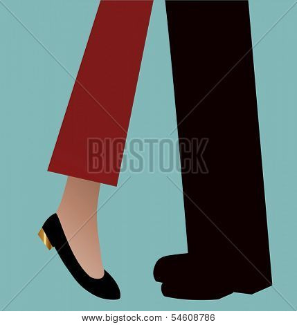 Woman on tip toes reaching for a kiss