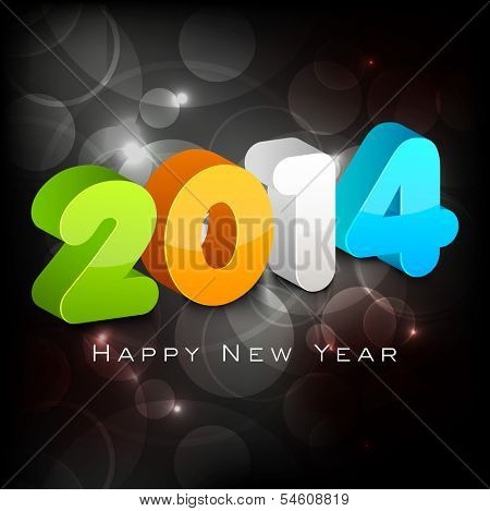 Stylish Happy New Year 2014 celebration flyer, banner, poster or invitation with colorful text on shiny black background.