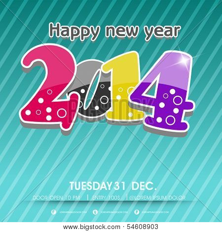 Stylish Happy New Year 2014 celebration flyer, banner, poster or invitation with glossy colorful text on shiny green background.