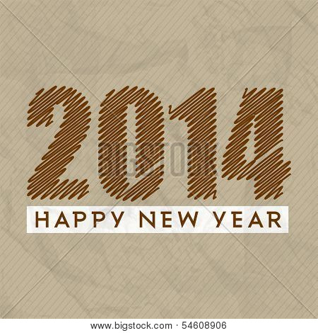 Stylish Happy New Year 2014 celebration flyer, banner, poster or invitation with stylish text on grungy brown background.