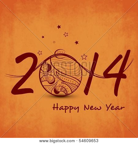 Happy New Year 2014 celebrations flyer, banner, poster or invitation with stylish text and decorative Christmas ball on grungy orange background.