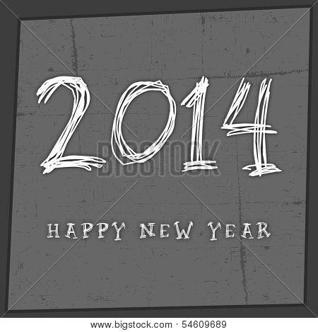 Happy New Year 2014 celebration flyer, banner, poster or invitation with stylish text on grungy grey background.