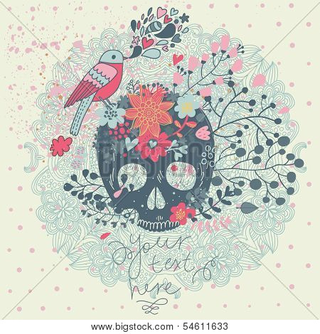 Bright concept card in vector. Stylish traditional composition with scull, bird and flowers in vintage style
