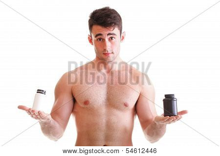 Holding A Boxes With Supplements On His Biceps