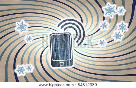 Vintage Wooden Smart Phone Symbol