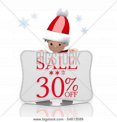 Mini Santa Claus Presents Christmas Sale 30 Percent Off Symbol
