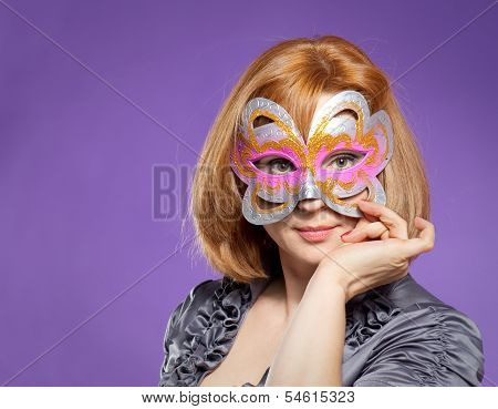 Portrait Of Beautiful Woman With Festival Mask