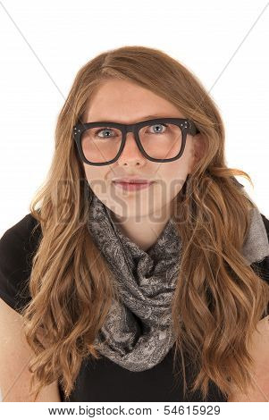 Young Woman Wearing Nerdy Black Glasses With Sober Expression