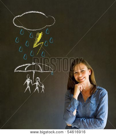 Woman Teacher Thinking About Protecting Family From Natural Disaster On Blackboard Background