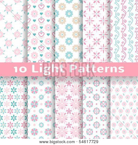 Light floral romantic vector seamless patterns (tiling).