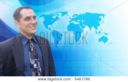Successfule Business Man with Blue Vision