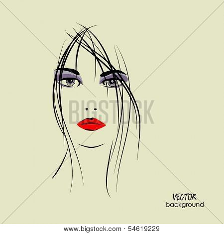 art sketched beautiful girl face in vector