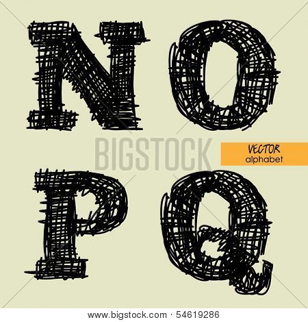 art sketched stylized alphabet in vector, black grungy ink font, signs N, O, P, Q
