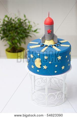 Children's Cake Rocket The Blue