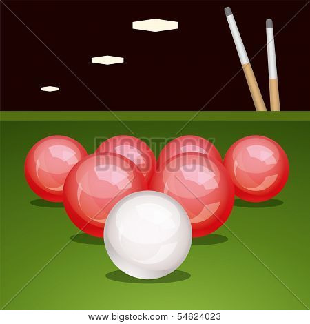 Vector Billirad Table With Balls And Cues