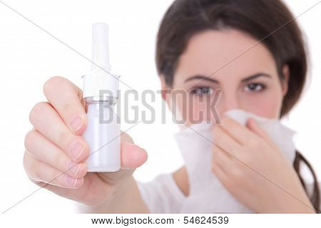 Attractive Young Woman Holding Nasal Spray Isolated On White