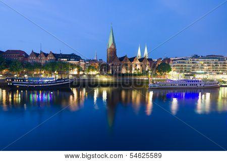 Cityscape Of Night Bremen In Summer