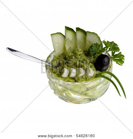Avocado-cream in cristal-bowl